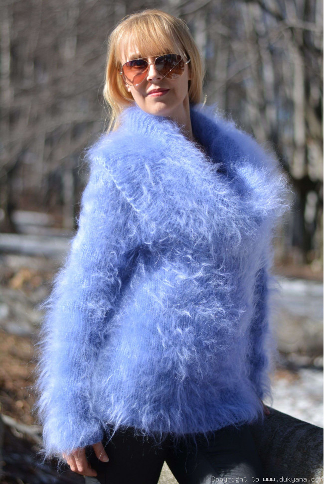 Handknit Fuzzy And Soft Cowlneck Off Shoulder Mohair Sweater In Blue