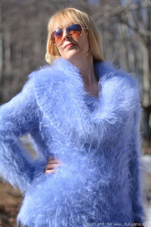 Fuzzy and soft cowlneck off-shoulder mohair sweater in blue