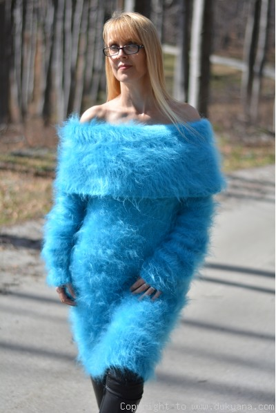 Hand knitted fuzzy and soft cowlneck off-shoulder mohair sweater dress in blue