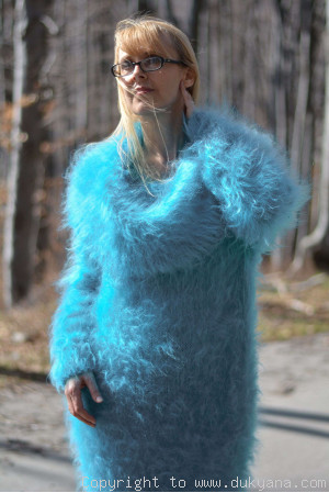 Oversized cowlneck off-shoulder mohair sweater in aqua blue