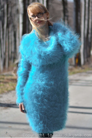 Off-shoulder mohair sweater in aqua blue