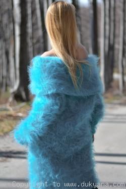 Oversized cowlneck off-shoulder mohair sweater in aqua blue