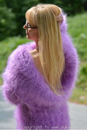 Hand knitted soft and silky cowlneck mohair sweater