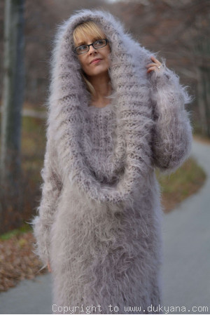 chunky and silky huge cowlneck mohair sweater in beige