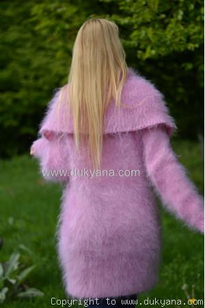 Cowlneck off-shoulder mohair sweater in pink