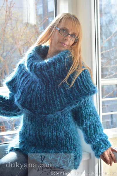 Chunky hand knitted huge cowlneck mohair sweater in turquoise mix