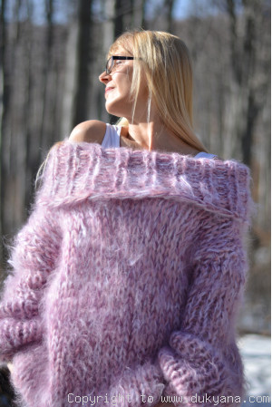Chunky hand knitted cowlneck mohair sweater in pink