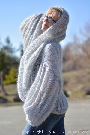 Airy mohair sweater with huge cowlneck collar in gray