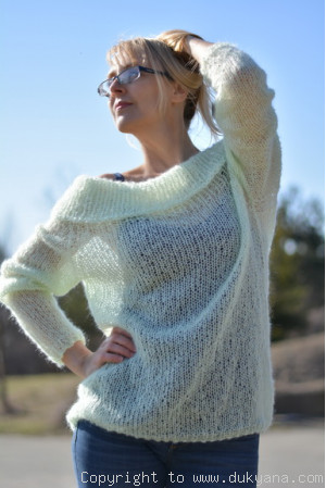 Airy off-shoulder mohair sweater hand knitted to custom colour