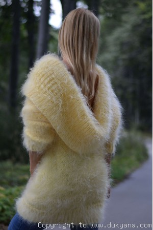 Greek collar mohair sweater in yellow