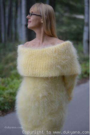 Greek collar mohair sweater in yellow