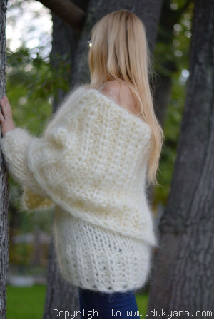 chunky hand knitted huge cowlneck mohair sweater Custom colour