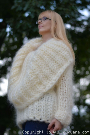 Chunky hand knitted huge cowlneck mohair sweater