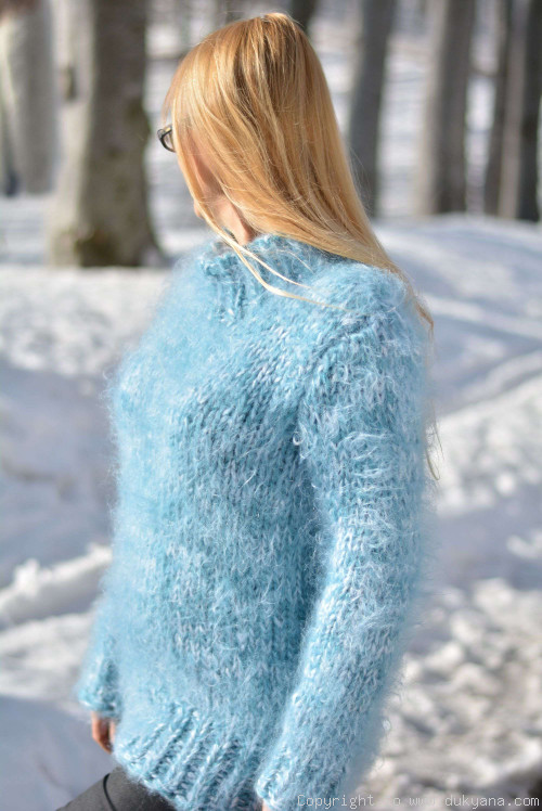 On request Chunky and soft crewneck mohair sweater in frosty blue