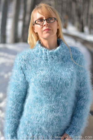 Chunky and soft crewneck mohair sweater in frosty blue