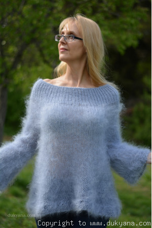 Off-shoulder summer mohair sweater in pale blue