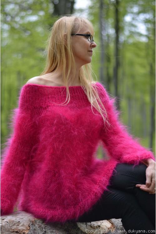 Off-shoulder summer mohair sweater in fuchsia