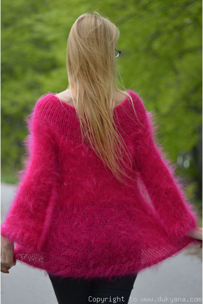 Off-shoulder summer mohair sweater in fuchsia