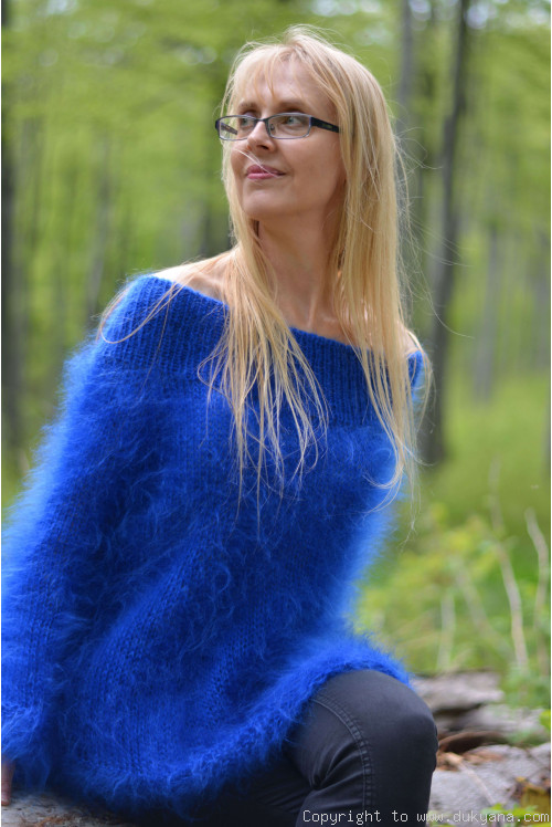 Off-shoulder summer mohair sweater in royal blue