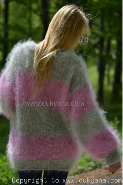 Oversized striped mohair sweater loosely knitted in gray and pink