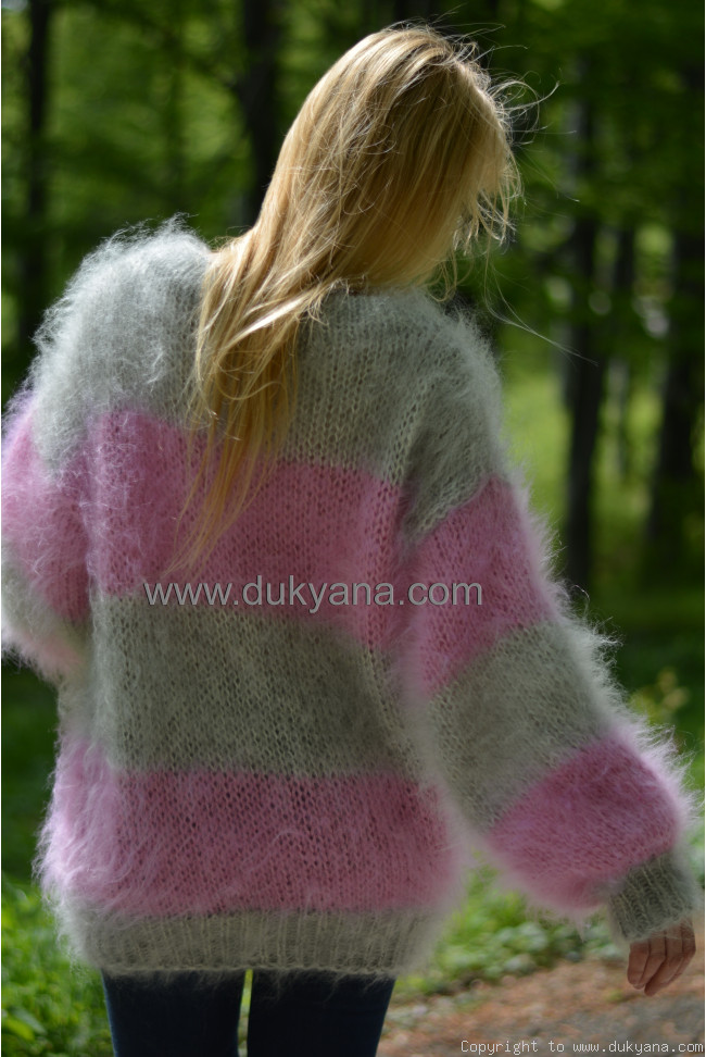 63c1acd182c Oversized slouchy mohair sweater soft crewneck striped jumper in ...