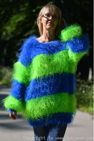 Oversized striped mohair sweater loosely knitted in royal blue and green
