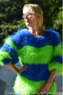 On request Oversized striped mohair sweater loosely knitted in royal blue and green