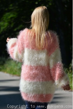 On request Oversized striped mohair sweater loosely knitted in cream and peach