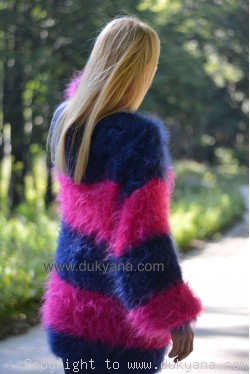 on request Oversized striped mohair sweater loosely knitted in navy and fuchsia