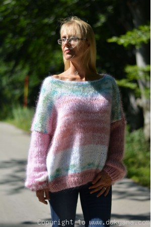 Oversized off-shoulder boho mohair sweater random coloured
