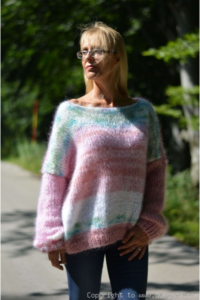 Oversized off-shoulder boho mohair sweater random coloured