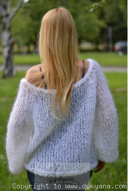 Boho summer mesh sweater in white