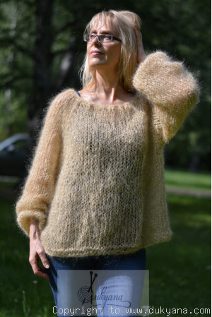 Boho balloon sleeve summer mesh sweater in camel beige