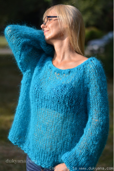 Bare shoulder summer mohair sweater in turquoise blue