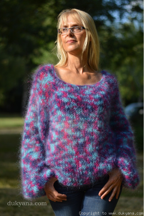 Boho summer mesh sweater in purple mix