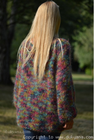 Boho balloon sleeve summer mesh sweater in mixed colours