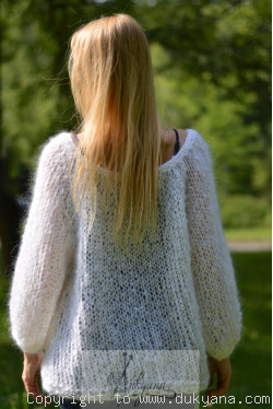 Boho balloon sleeve summer mesh sweater in white