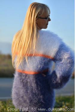 Fluffy multi-stripe mohair sweater in blue shades