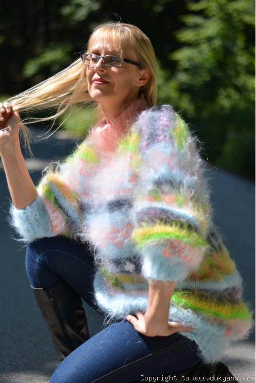 Multi-color fuzzy mohair mock tneck sweaterdress in mint