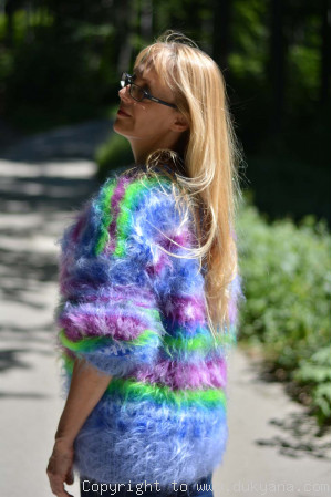 Multi-color fuzzy mohair sweater in blue green shades