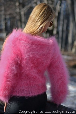 On request Cropped off-shoulder mohair sweater in custom colour