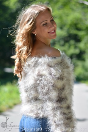 Cropped fuzzy mohair sweater in animal print