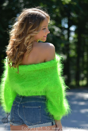 Cropped summer mohair sweater in neon green