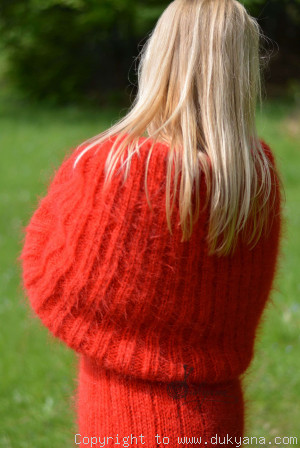 Hand knitted soft and silky huge cowlneck mohair dress in red