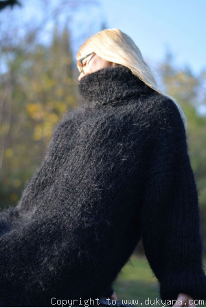 Hand knitted soft and silky T-neck mohair dress in black