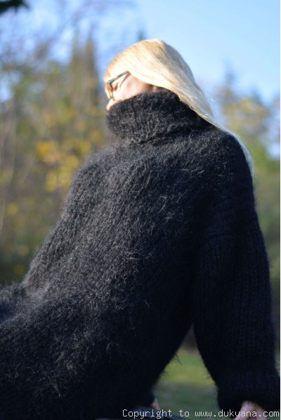 On request Hand knitted soft and silky T-neck mohair dress in black