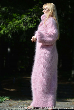 Hand knitted soft and silky T-neck mohair dress in pink