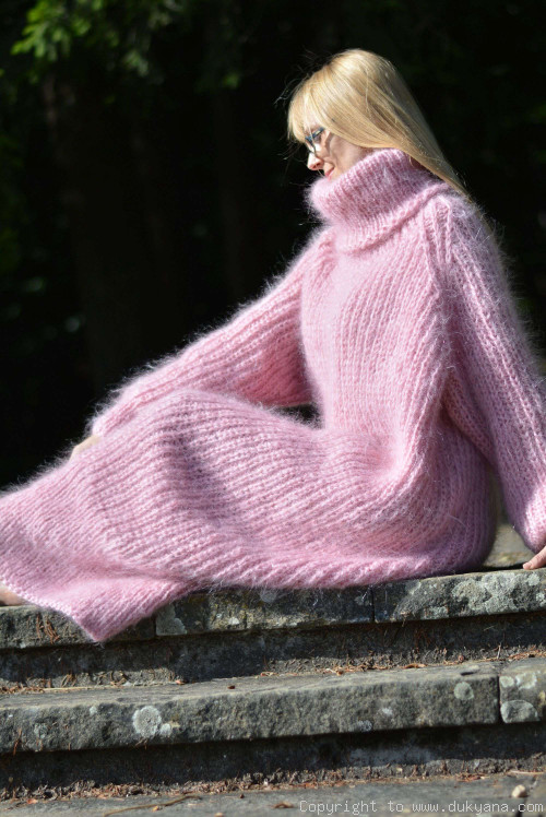 On request Hand knitted soft and silky T-neck mohair dress in pink