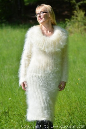 Fuzzy and soft cowlneck off-shoulder mohair dress in Ivory