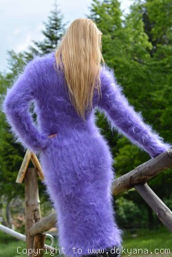 Fuzzy mohair dress with cowlneck in purple